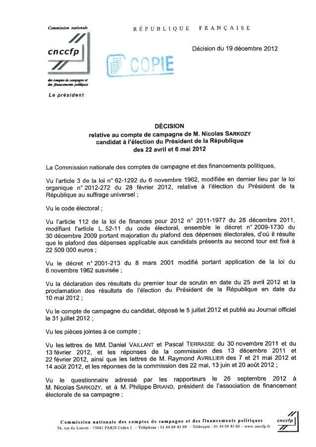 Décision de la commission nationale des comptes de campagne