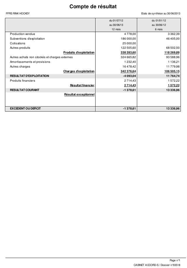 Compte de résultat FFRS RINK HOCKEY  Etats de synthèse au 30/06/2013 du 01/07/12  du 01/01/12  au 30/06/13  au 30/06/12  1...
