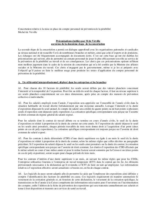 Concertation relative à la mise en place du compte personnel de prévention de la pénibilité Michel de Virville Préconisati...