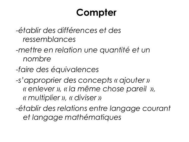 Compter -établir des différences et des ressemblances -mettre en relation une quantité et un nombre -faire des équivalence...