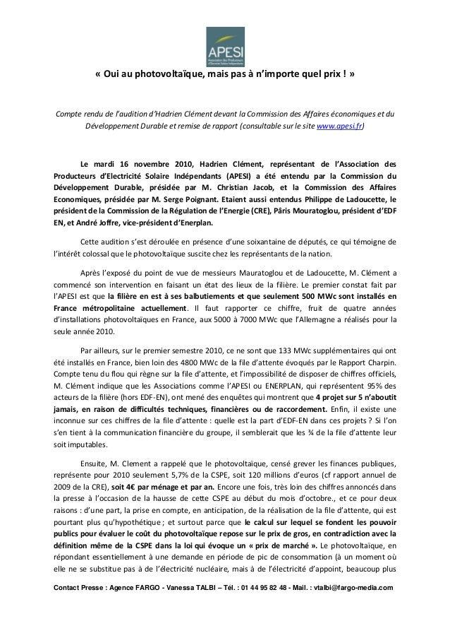 Contact Presse : Agence FARGO - Vanessa TALBI – Tél. : 01 44 95 82 48 - Mail. : vtalbi@fargo-media.com « Oui au photovolta...