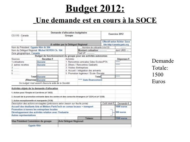 Budget 2012:   Une demande est en cours à la SOCE Demande Totale: 1500 Euros