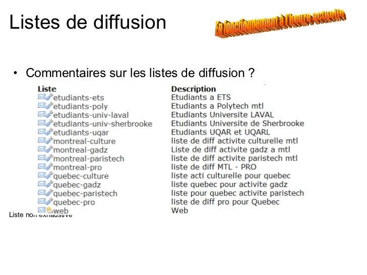 Listes de diffusion <ul><ul><li>Commentaires sur les listes de diffusion ? </li></ul></ul><ul><li>Liste non exhaustive </l...