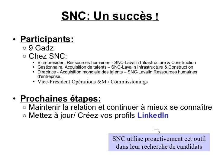 SNC: Un succès ! <ul><ul><li>Participants:   </li></ul></ul><ul><ul><ul><li>9 Gadz </li></ul></ul></ul><ul><ul><ul><li>Ch...