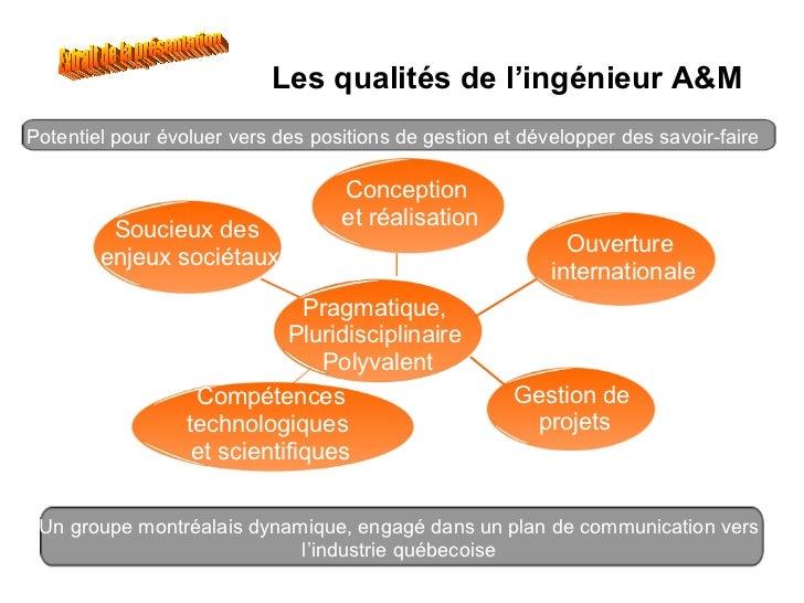 Les qualités de l'ingénieur A&M Soucieux des  enjeux sociétaux Pragmatique,  Pluridisciplinaire  Polyvalent Conception  et...