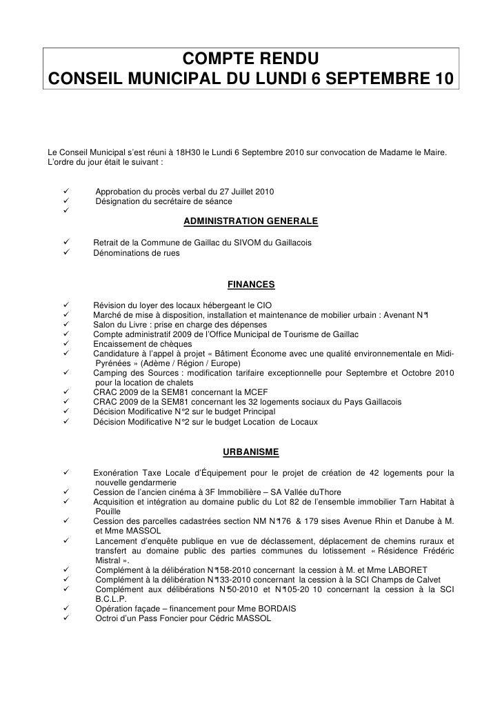 COMPTE RENDU CONSEIL MUNICIPAL DU LUNDI 6 SEPTEMBRE 10    Le Conseil Municipal s'est réuni à 18H30 le Lundi 6 Septembre 20...
