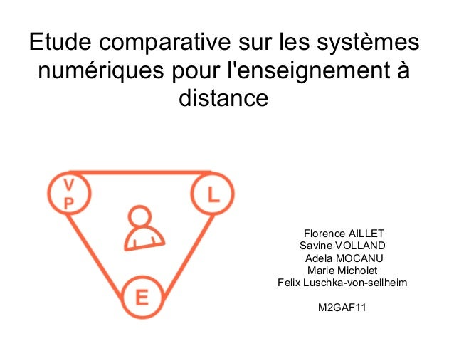 Etude comparative sur les systèmes numériques pour l'enseignement à distance Florence AILLET Savine VOLLAND Adela MOCANU M...