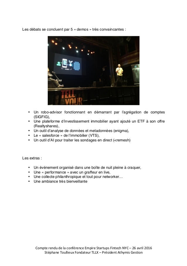 CompterendudelaconférenceEmpireStartupsFintechNYC–26avril2016  StéphaneToullieuxFondateurTLLX–Président...