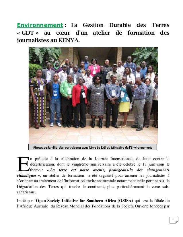 1 Environnement : La Gestion Durable des Terres « GDT » au cœur d'un atelier de formation des journalistes au KENYA. n pré...