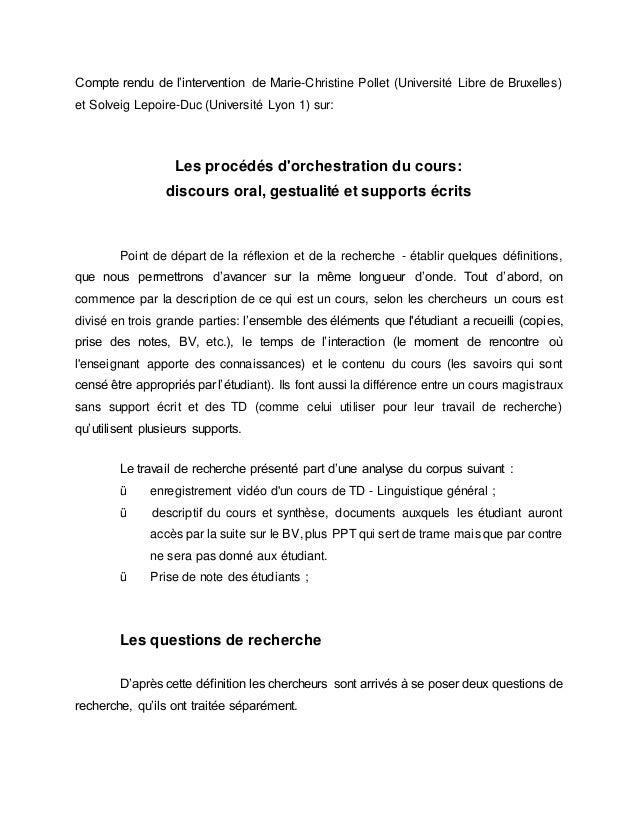 Compte rendu de l'intervention de Marie-Christine Pollet (Université Libre de Bruxelles) et Solveig Lepoire-Duc (Universit...
