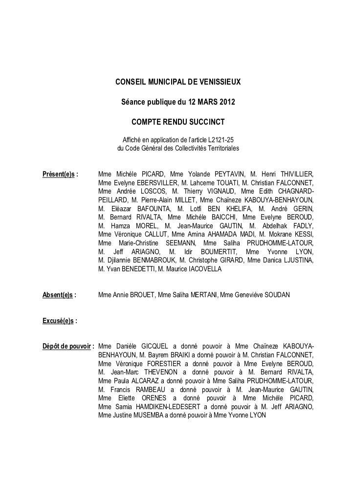 CONSEIL MUNICIPAL DE VENISSIEUX                         Séance publique du 12 MARS 2012                             COMPTE...