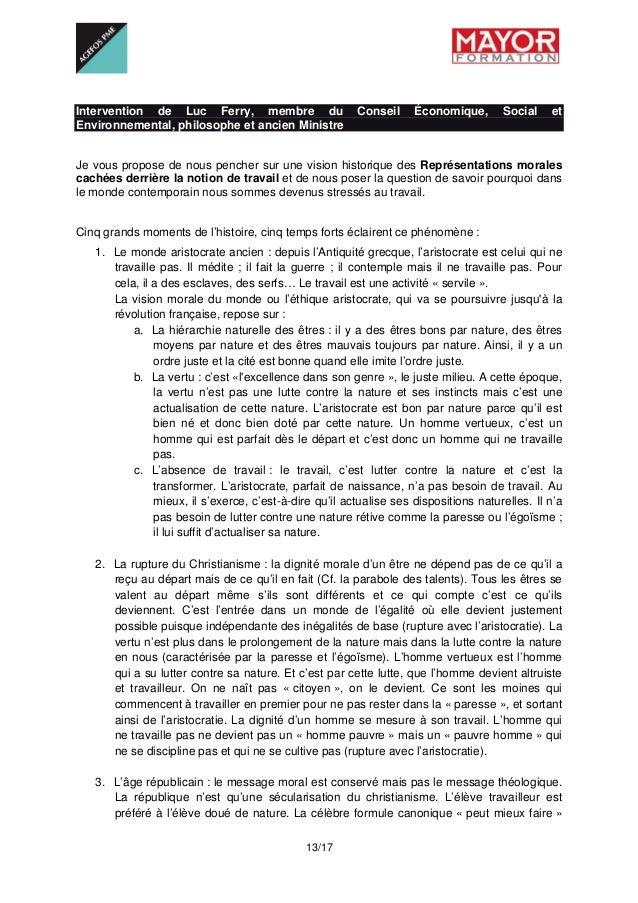 13/17 Intervention de Luc Ferry, membre du Conseil Économique, Social et Environnemental, philosophe et ancien Ministre ...