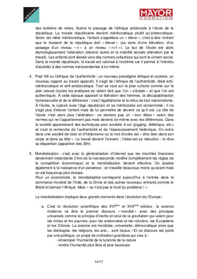 14/17 des bulletins de notes, illustre le passage de l'éthique aristocrate à l'école de la république. La morale républi...