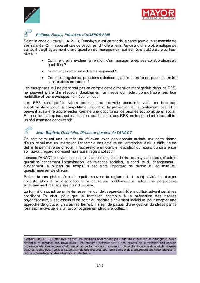 2/17  Philippe Rosay, Président d'AGEFOS PME Selon le code du...