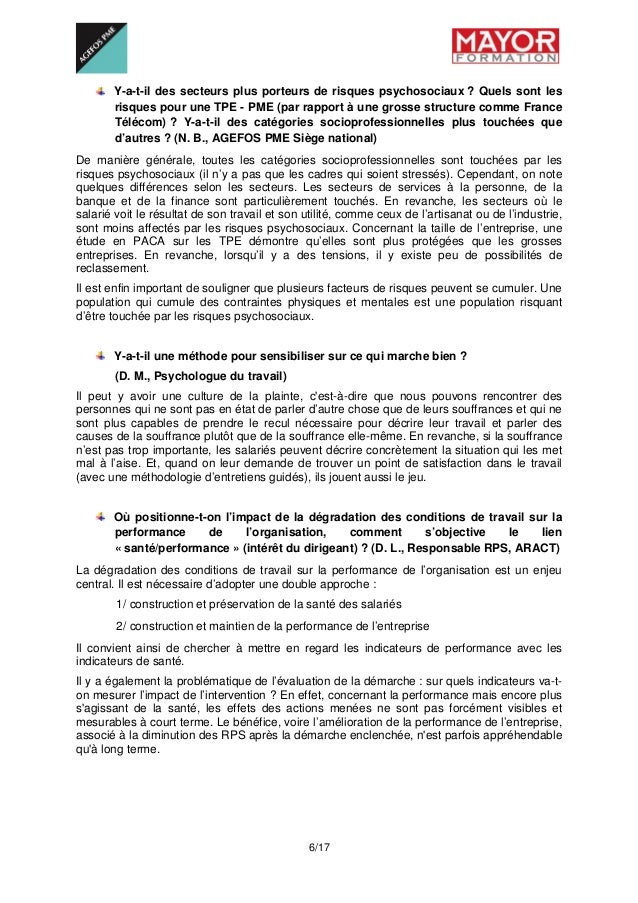 6/17 Y-a-t-il des secteurs plus porteurs de risques psychosociaux ? Quels sont les risques pour une TPE - PME (par rappo...