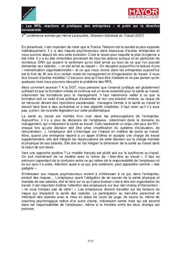 7/17 « Les RPS, réactions et pratiques des entreprises » et point sur la directive ministérielle 2de conférence animée p...