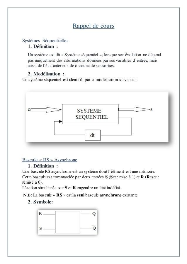 Syst mes de logiques s quentielles bascules for Bascule rs cours