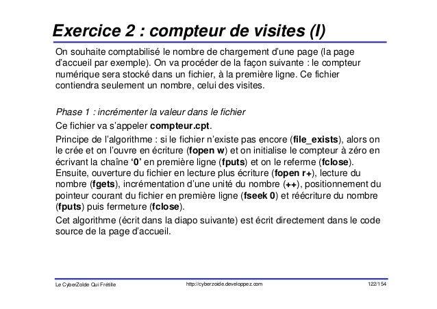 Exercice 2 : compteur de visites (I)On souhaite comptabilisé le nombre de chargement d'une page (la paged'accueil par exem...