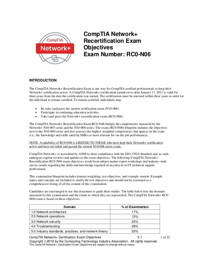 Comptia Networkplus Recert Rc0 N06 Objectives