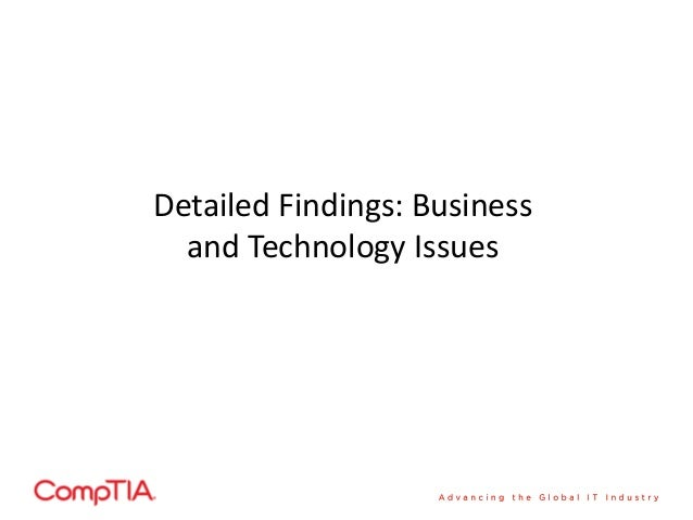 Detailed Findings: Businessand Technology Issues ...