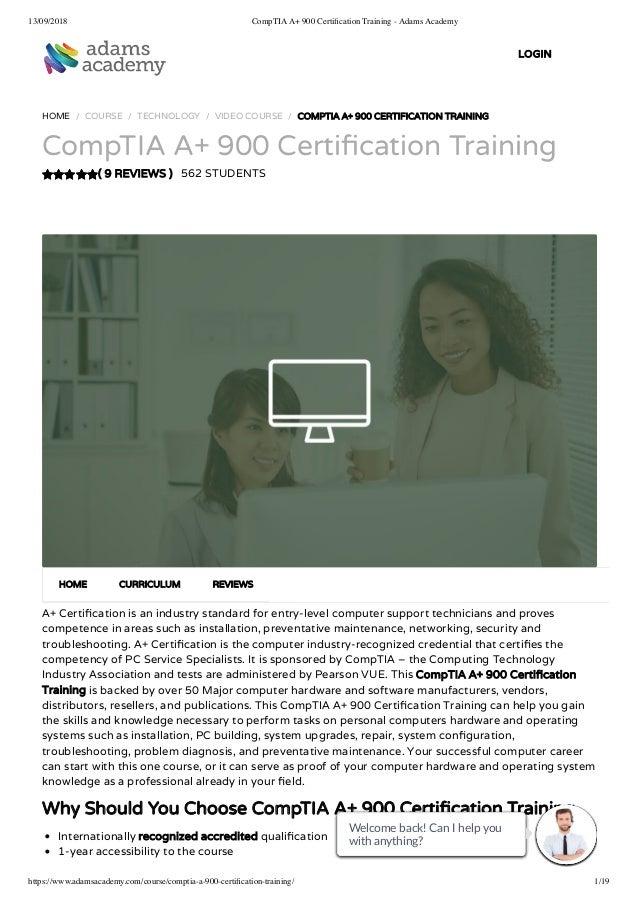 CompTIA A+ 900 Certification Training - Adams Academy