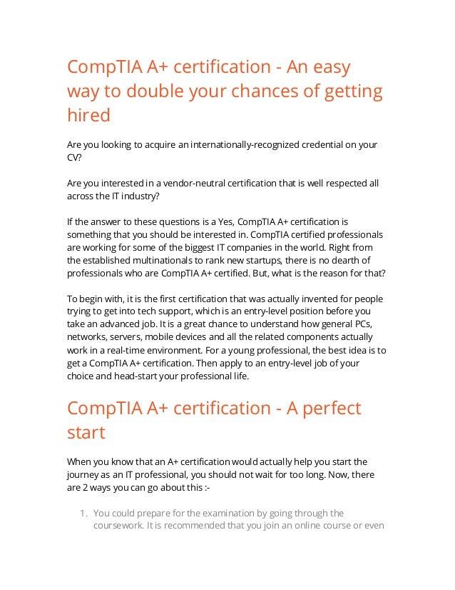 Comp Tia A Certification Exam