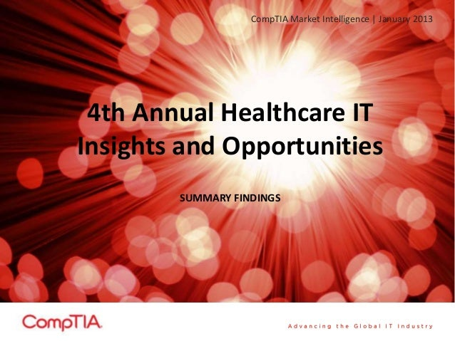 CompTIA Market Intelligence | January 2013 4th Annual Healthcare ITInsights and Opportunities        SUMMARY FINDINGS