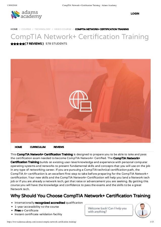 CompTIA Network+ Certification Training - Adams Academy