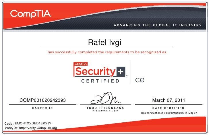 Comptia Security Ce Certificate