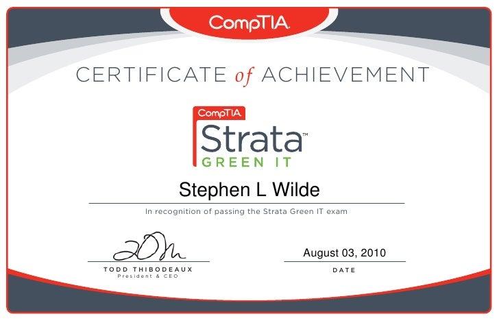 Comp Tia Strata Green It Certificate