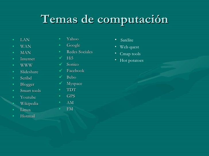 Temas de computación <ul><li>LAN </li></ul><ul><li>WAN </li></ul><ul><li>MAN </li></ul><ul><li>Internet </li></ul><ul><li>...