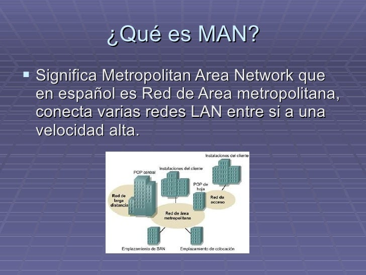 ¿Qué es MAN? <ul><li>Significa Metropolitan Area Network que en español es Red de Area metropolitana, conecta varias redes...