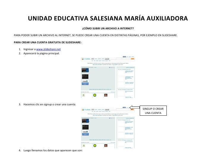 UNIDAD EDUCATIVA SALESIANA MARÍA AUXILIADORA                                                   ¿CÓMO SUBIR UN ARCHIVO A IN...