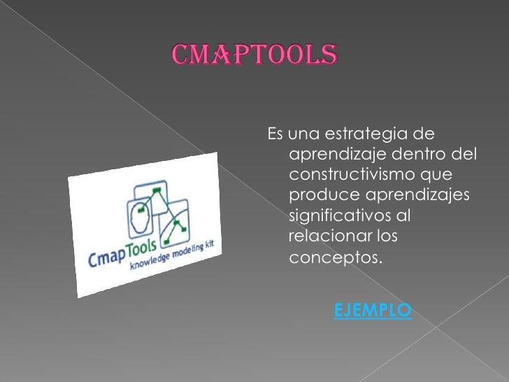 CMAPTOOLS<br />Es una estrategia de aprendizaje dentro del constructivismo que produce aprendizajes significativos al rela...