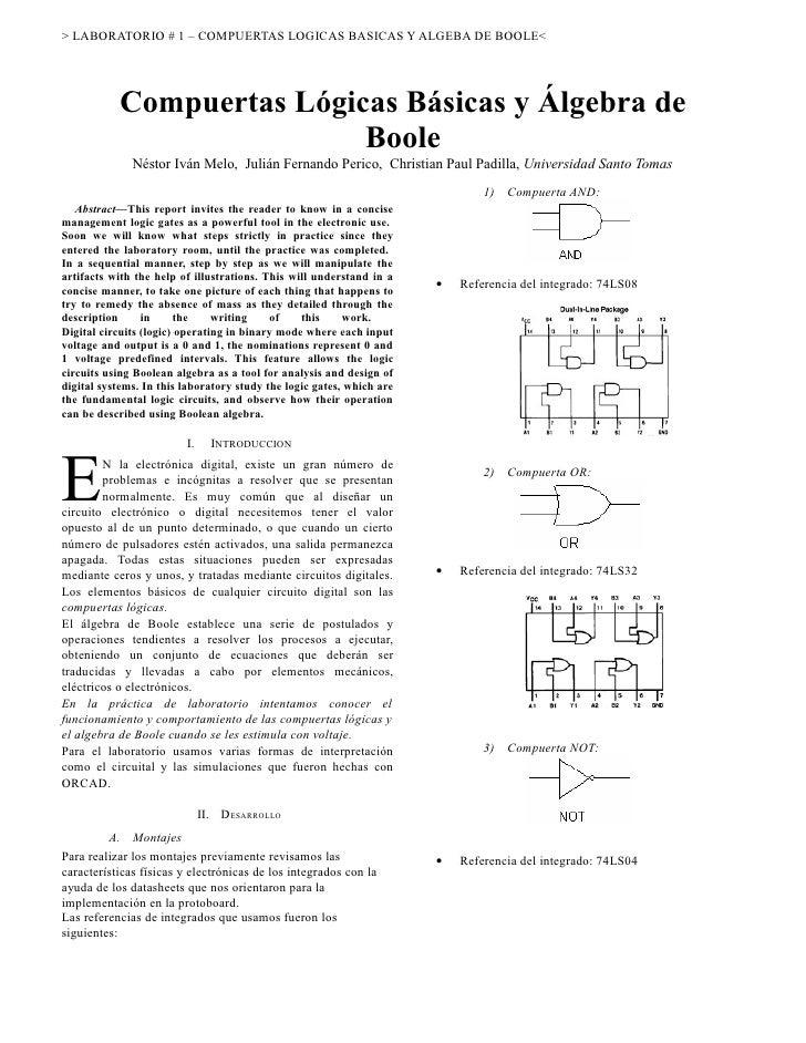 > LABORATORIO # 1 – COMPUERTAS LOGICAS BASICAS Y ALGEBA DE BOOLE<                Compuertas Lógicas Básicas y Álgebra de  ...