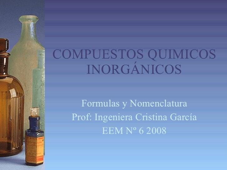 COMPUESTOS QUIMICOS INORGÁNICOS Formulas y Nomenclatura Prof: Ingeniera Cristina García EEM Nº 6 2008