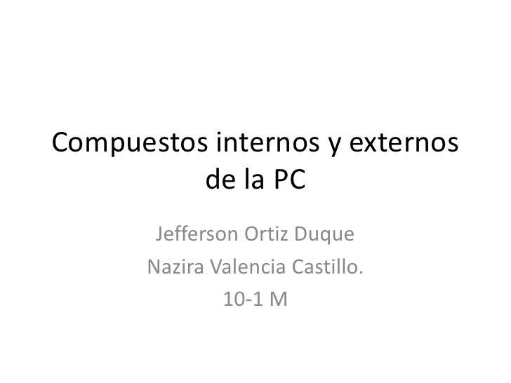 Compuestos internos y externos          de la PC        Jefferson Ortiz Duque       Nazira Valencia Castillo.             ...