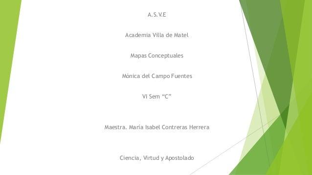 """A.S.V.E Academia Villa de Matel Mapas Conceptuales  Mónica del Campo Fuentes VI Sem """"C""""  Maestra. María Isabel Contreras H..."""