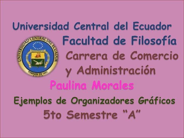 Universidad Central del Ecuador         Facultad de Filosofía          Carrera de Comercio          y Administración      ...