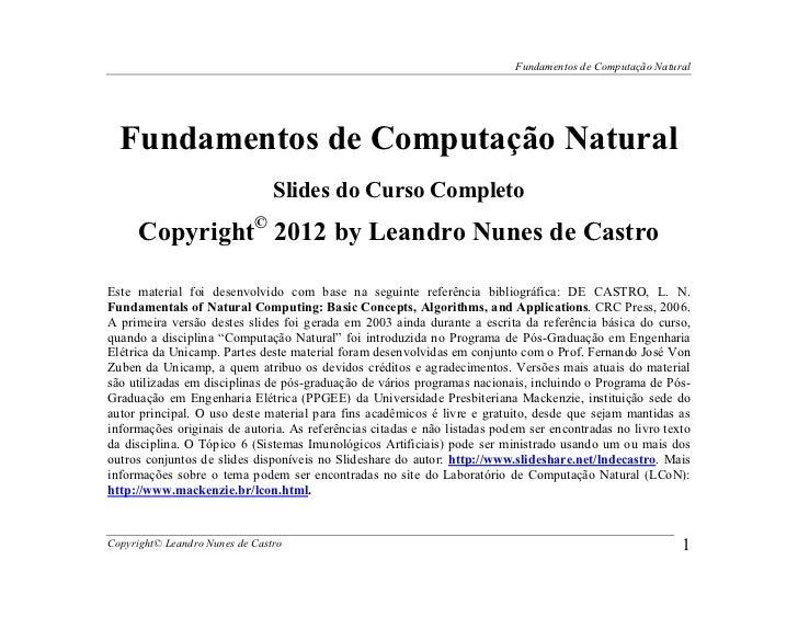 Fundamentos de Computação Natural  Fundamentos de Computação Natural                                Slides do Curso Comple...