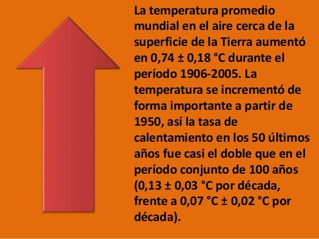 La temperatura promedio mundial en el aire cerca de la superficie de la Tierra aumentó en 0,74 ± 0,18 °C durante el períod...