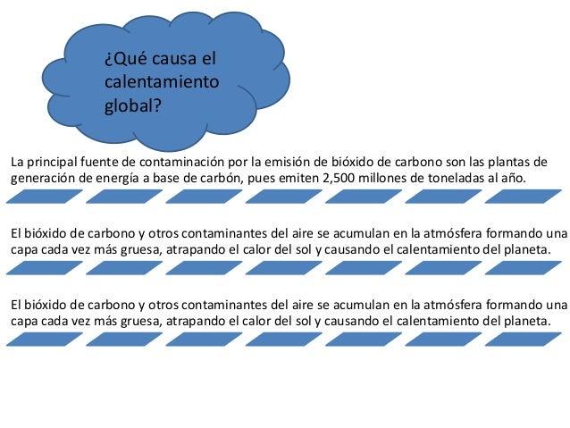 ¿Qué causa el calentamiento global? La principal fuente de contaminación por la emisión de bióxido de carbono son las plan...
