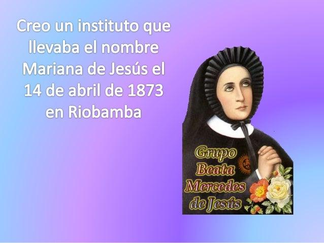 Càreo wana instituto que ilavabaa al? nombre Marianáa da Jasús ei 14 da abrii de 181?3  ' en« Riabamba