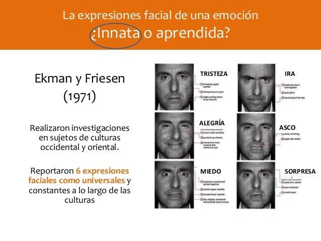 Ekman y Friesen (1971) Realizaron investigaciones en sujetos de culturas occidental y oriental. Reportaron 6 expresiones f...