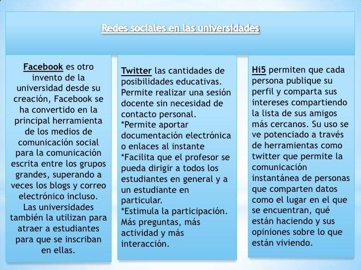 Redes sociales en las universidades<br />Twitterlas cantidades de posibilidades educativas.<br />Permite realizar una sesi...