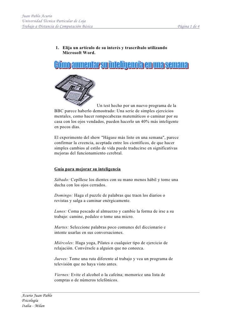 Juan Pablo Acurio Universidad Técnica Particular de Loja Trabajo a Distancia de Computación Básica                        ...