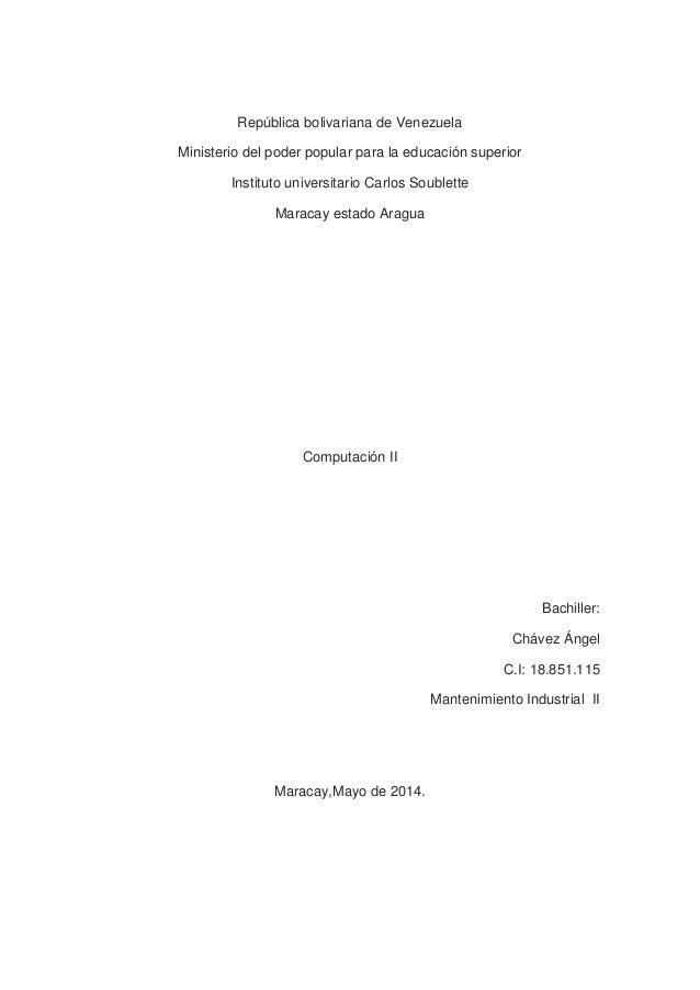 República bolivariana de Venezuela Ministerio del poder popular para la educación superior Instituto universitario Carlos ...