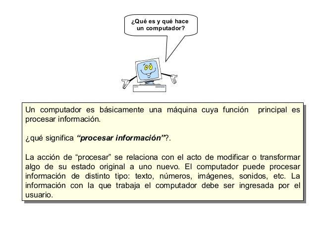"""Un computador es básicamente una máquina cuya función principal es procesar información. ¿qué significa """"procesar informac..."""