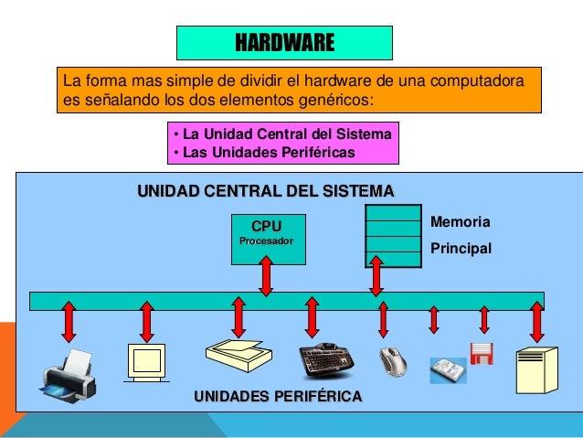 HARDWARE La forma mas simple de dividir el hardware de una computadora es señalando los dos elementos genéricos: • La Unid...
