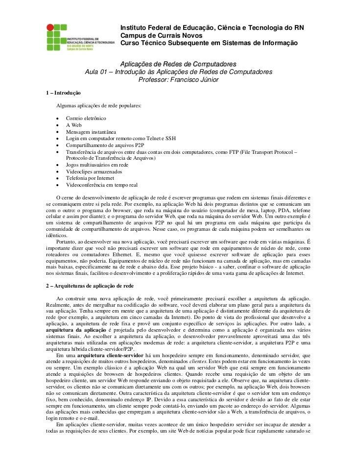 Instituto Federal de Educação, Ciência e Tecnologia do RN                                  Campus de Currais Novos        ...